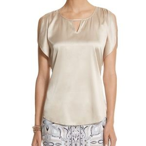 Whbm gold flutter sleeve silk Blouse size xs